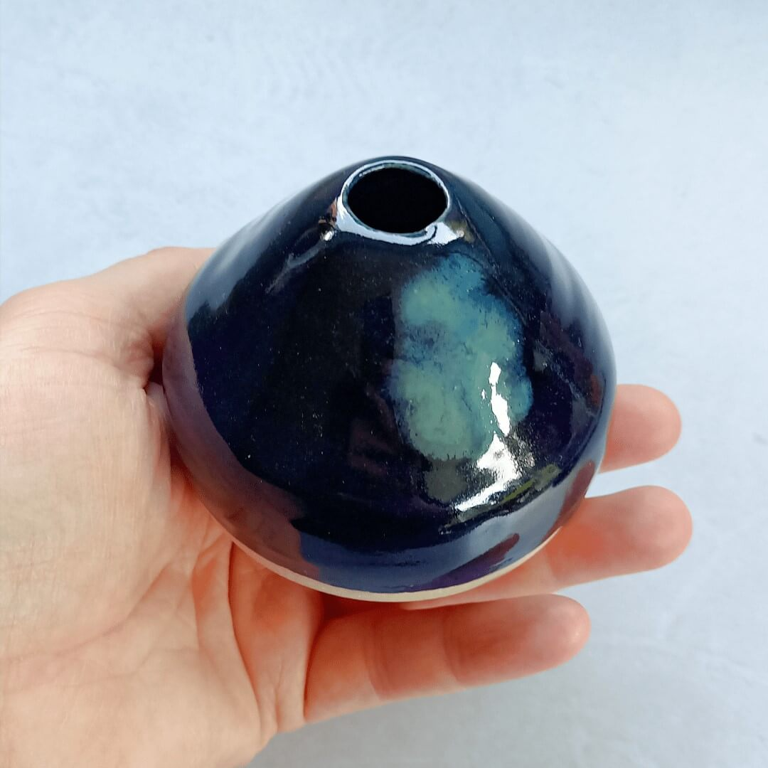 Small Stoneware vase with blue glaze and cloudy effect