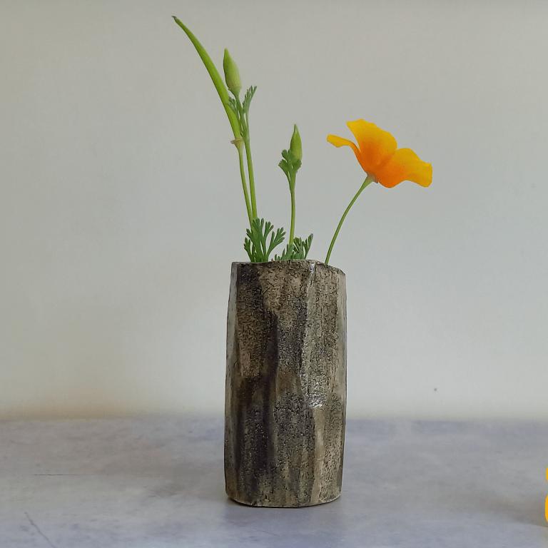Small grey stoneware carved bud vase